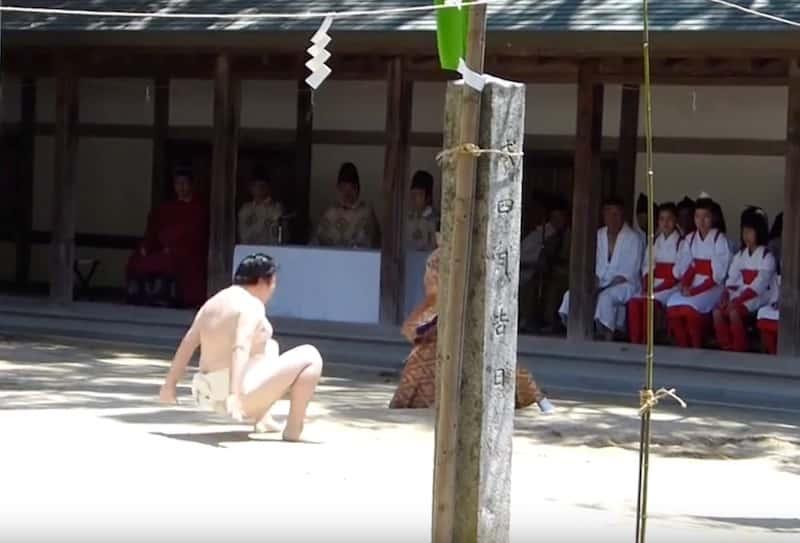 一人相撲祭りで精霊に敗れた様子