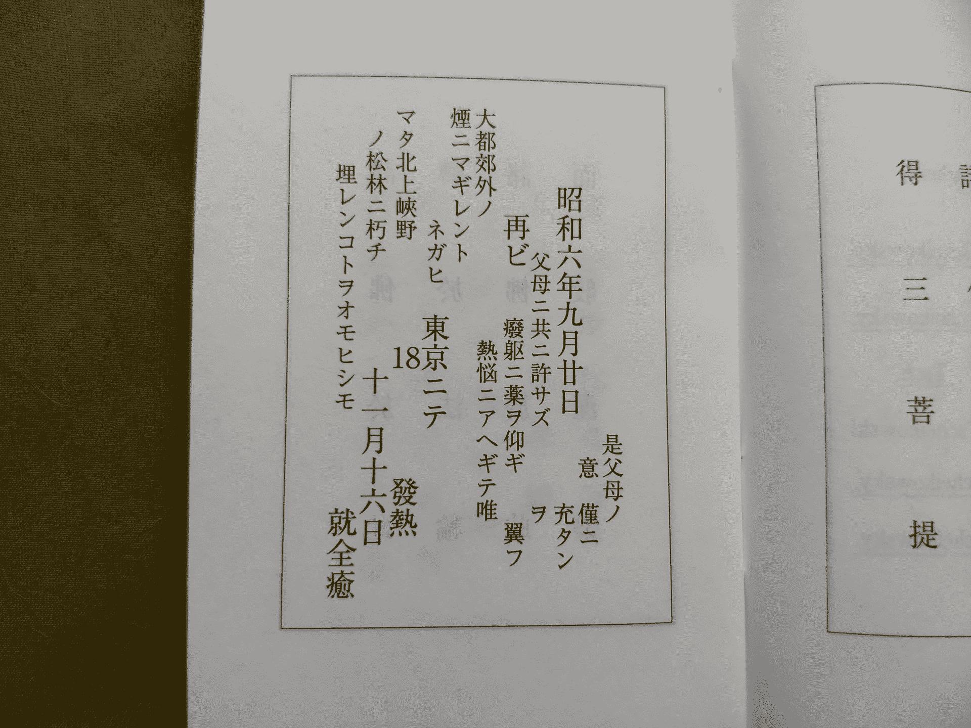 「雨ニモマケズ手帳」の「再ビ東京ニテ発熱」の解説ページ