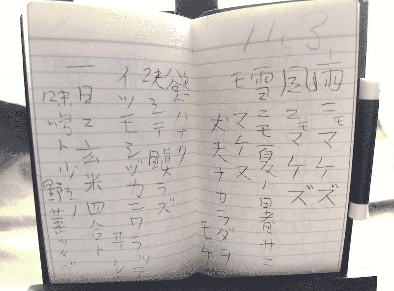 「雨ニモマケズ手帳」にある「雨ニモマケズ」の一節