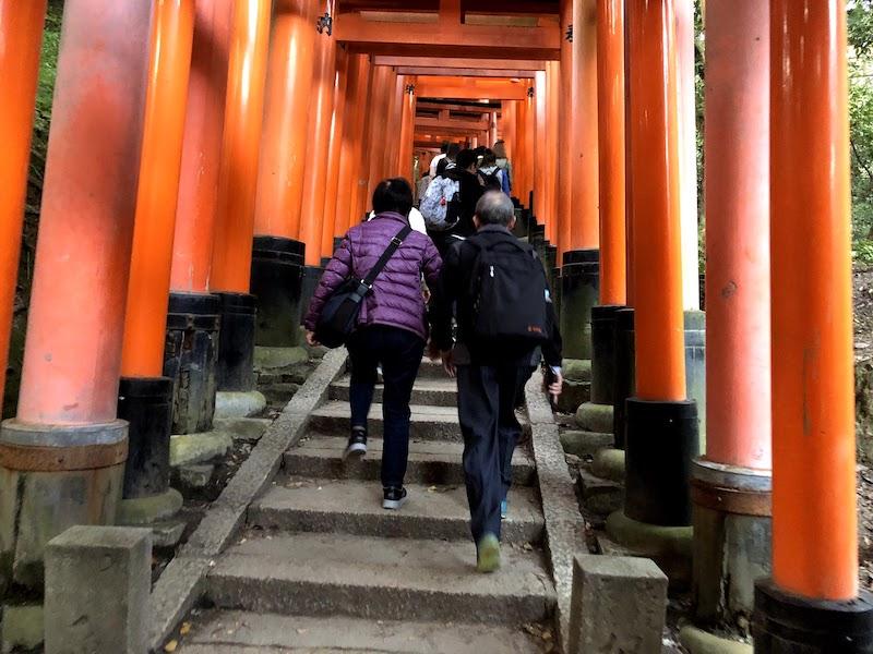 伏見稲荷大社の千本鳥居を登るメンバー