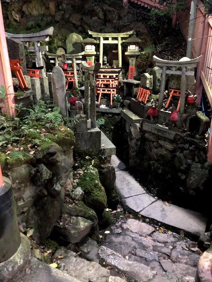 伏見稲荷大社の千本鳥居の山頂付近。小さな神社の様子
