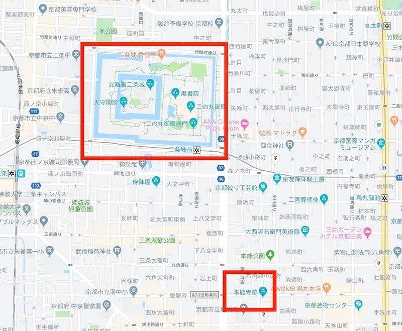 本能寺跡付近のグーグルマップ