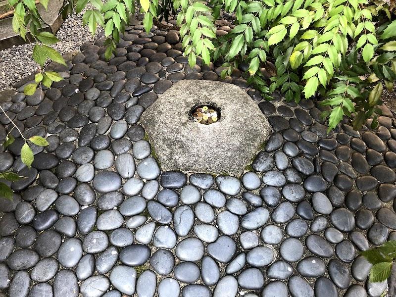 六角堂のへそ石の様子