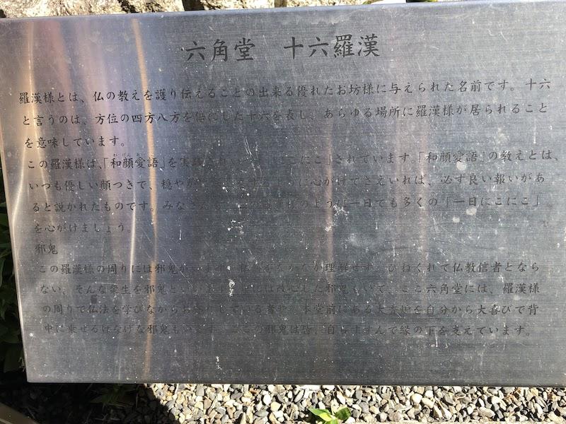 六角堂の「十六羅漢」の説明