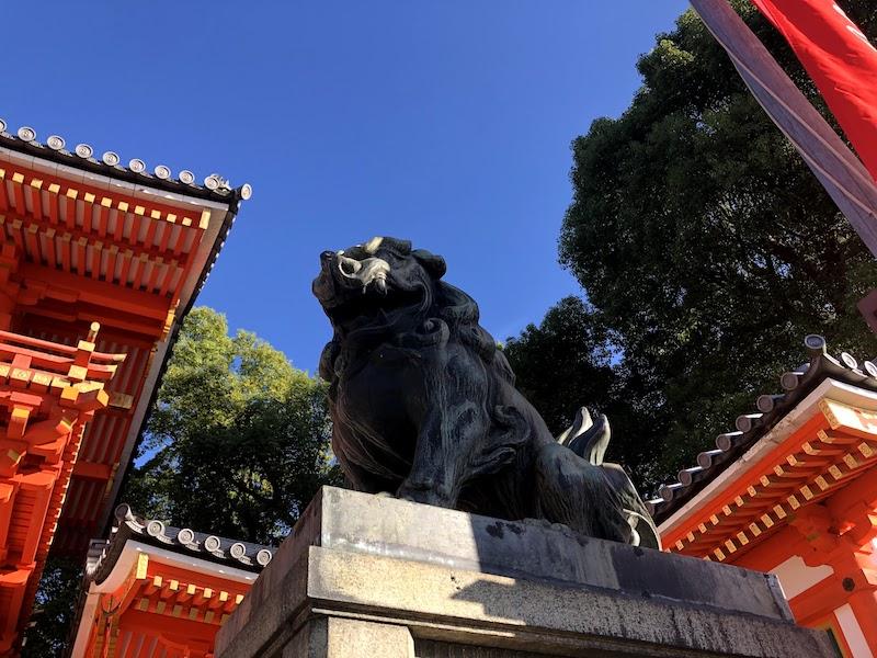 八坂神社の西門の狛犬
