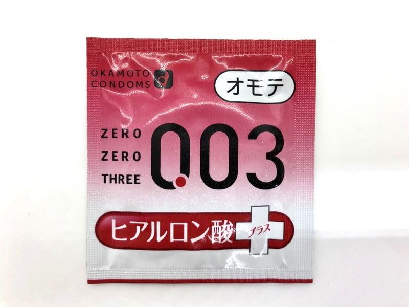 「オカモトゼロゼロスリー 0.03ミリ ヒアルロン酸」の箱(表)