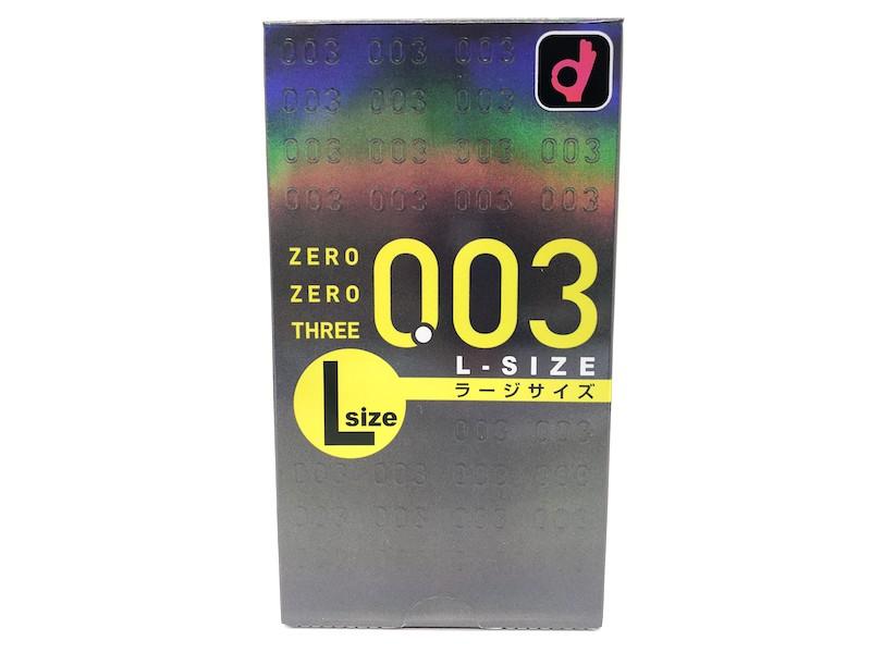 「オカモトゼロゼロスリー 0.03ミリ Lサイズ」の箱(表)