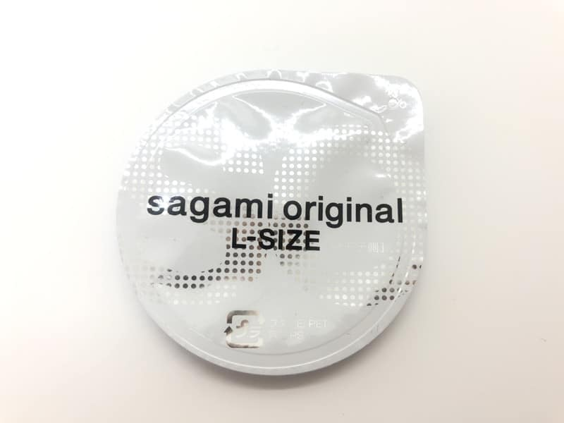 「サガミオリジナル002 Lサイズ」のコンドーム袋(表)