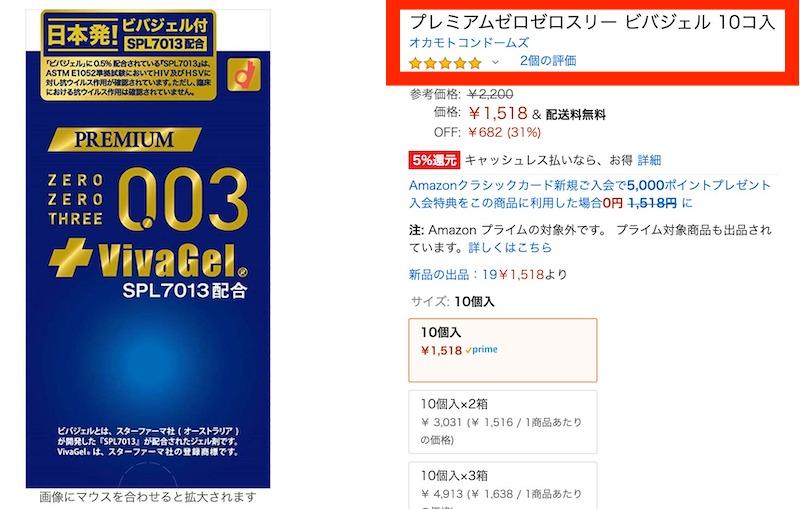 Amazonの「プレミアム ゼロゼロスリー ビバジェル」の評価